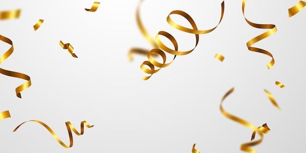 Złote wstążki konfetti. uroczystość luksusowych kart okolicznościowych bogatych.