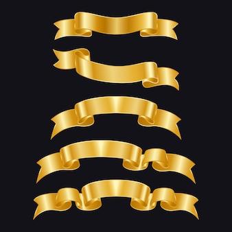 Złote wstążki o różnych kształtach na białym tle. złote odznaki
