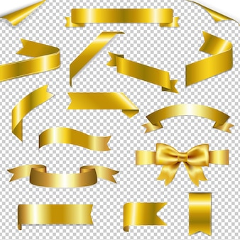 Złote wstążki sieci web kolekcja ilustracja na białym tle