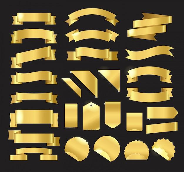 Złote wstążki w stylu retro, tagi, etykiety i herby wektor zestaw. szablon tekstu