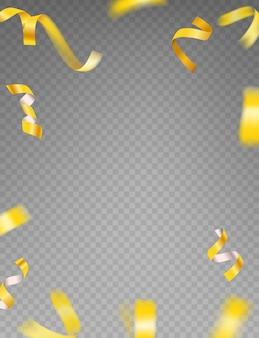 Złote wstążki wektor clipart. luksusowe latające złote konfetti i gwiazdy na przezroczystym tle