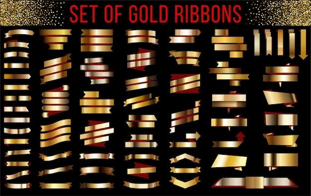 Złote wstążki z czerwonym wewnątrz złotym gradientowym sztandarem