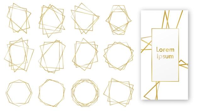 Złote zaproszenia ślubne geometryczne, zestaw luksusowych ramek.