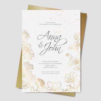Złote zaproszenie na ślub kwiatowy
