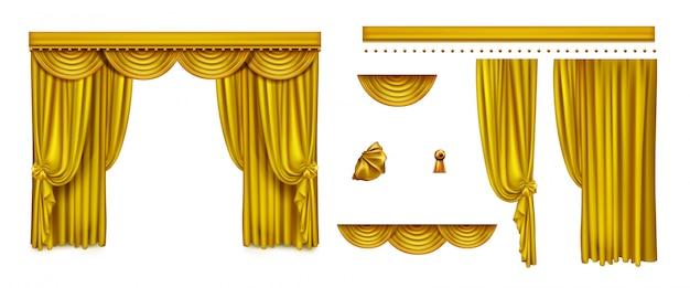 Złote zasłony na scenę teatralną lub kino
