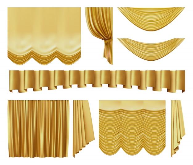 Złote zasłony sceniczne. realistyczne wnętrze teatru luksusowe złote aksamitne zasłony, zestaw ilustracji złotych królewskich jedwabnych elementów dekoracyjnych. żółty film, rozrywkowe draperie tekstylne
