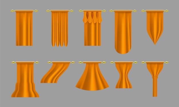 Złote zasłony. zestaw realistyczna luksusowa zasłona gzyms wystrój domowa tkanina wnętrze draperia tekstylna lambrekin, ilustracja wektorowa zestaw zasłon