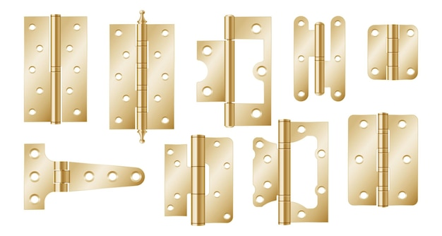Złote zawiasy drzwiowe, okucia budowlane na białym tle. realistyczny zestaw złotych narzędzi do wspólnych bram i okien. 3d metalowe zawiasy do domu i mebli. 3d ilustracji wektorowych