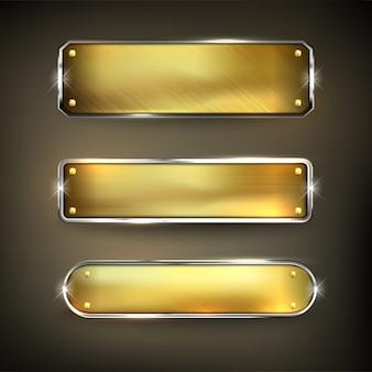 Złote żelazo przycisk ustaw przycisk na czarnym tle