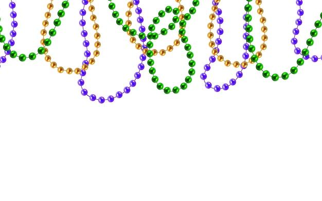 Złote, zielone, fioletowe koraliki na białym tle na podłoże drewniane. dekoracje mardi gras.