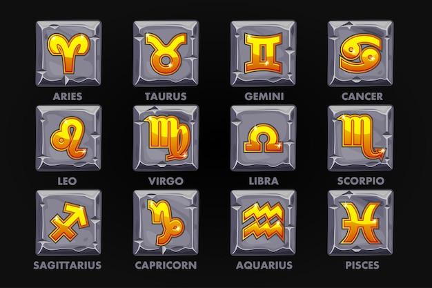 Złote znaki astrologii na kamiennym guziku ustaw 12 znaków zodiaku lub projekt gry. ikony wektorowe na osobnej warstwie