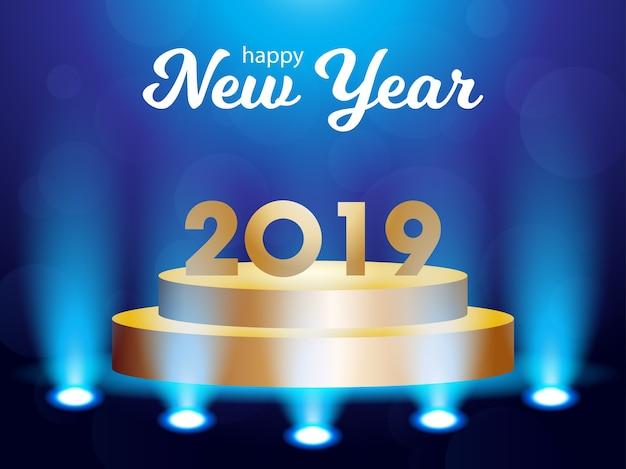 Złote życzenia nowego roku z reflektorem
