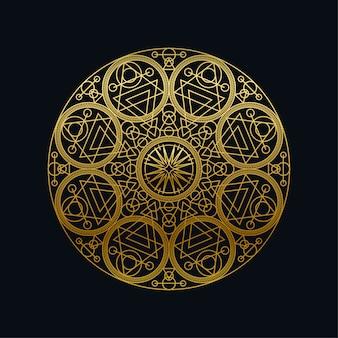 Złotego atramentu geometrycznej mandali liniowa wektorowa ilustracja