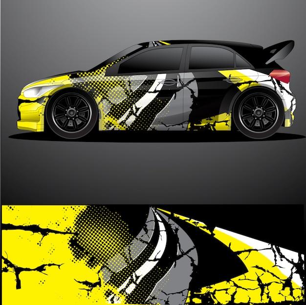 Zlotna samochodowa kalkomania grafiki opakunku wektor, abstrakcjonistyczny tło