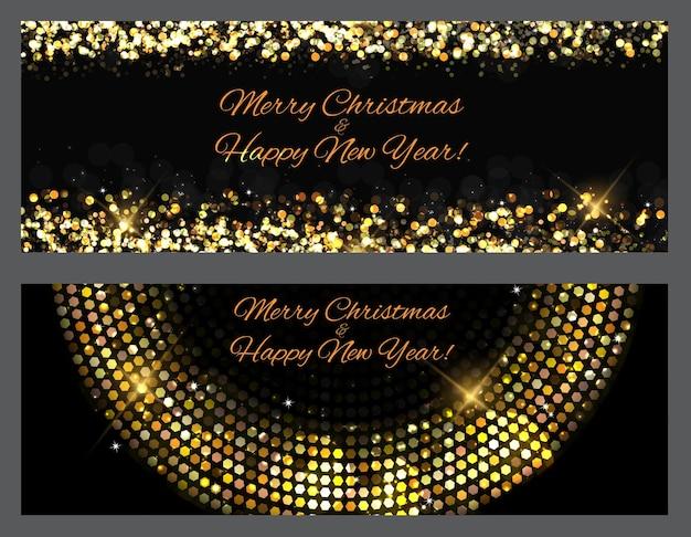 Złoto błyszczy banery. abstrakcyjne piękno wesołych świąt i nowego y
