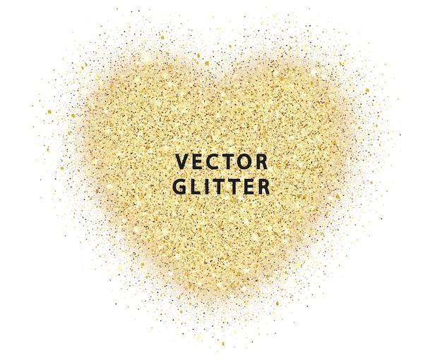 Złoto błyszczy serce na białym tle. streszczenie luksus blask złote serce wektor. wektor złoty pył na białym tle.