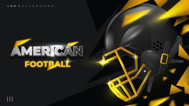 Złoto i czarne tło hełm futbolu amerykańskiego