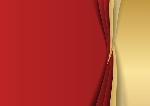 Złoto i czerwone tło. nowoczesne streszczenie czerwone tło ze złotymi kształtami geometrycznymi. ilustracja z wektora o nowoczesnym projekcie szablonu dla słodkiego i eleganckiego uczucia