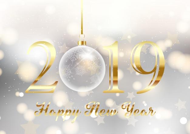 Złoto i srebro szczęśliwego nowego roku w tle
