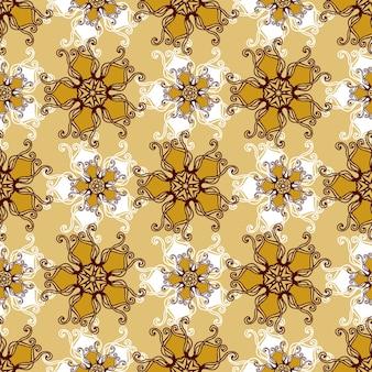 Złoto koronkowy bezszwowy wzór z biżuteria kwiatem.