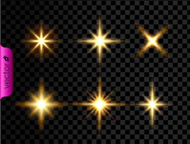 Złoto lśniące świecące światła efekt, żółty zaczyna się i wybuch na przezroczystym tle