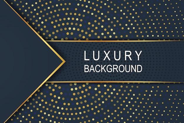 Złoto luksusowe ciemnoniebieskie tło na wzór półtonów koło