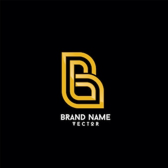 Złoto monogram b symbol logo szablon wektor