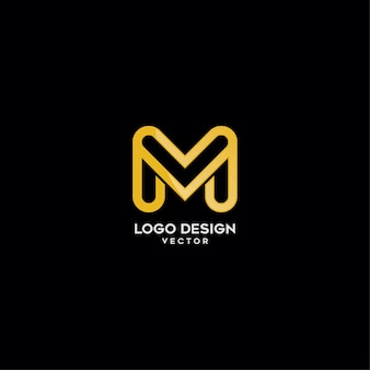 Złoto monogram m list logo design
