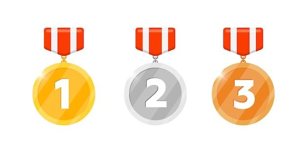 Złoto, srebrno-brązowy medal zwycięstwa zestaw z pierwszym drugim numerem trzeciego miejsca i pasiastą wstążką dla ikony aplikacji gier wideo. nagroda za osiągnięcie bonusowe. zwycięzca trofeum na białym tle ilustracji wektorowych płaski