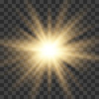 Złoto świecące światło wybuch wybuch z przezroczystym. jasna gwiazda.