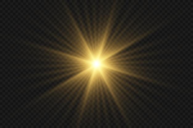 Złoto świecące światło wybuchające z przezroczystym. jasna gwiazda. przezroczyste świecące słońce, jasny błysk.