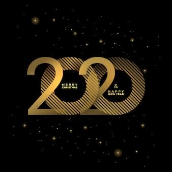 Złoty 2020 nowy rok na ciemnym tle