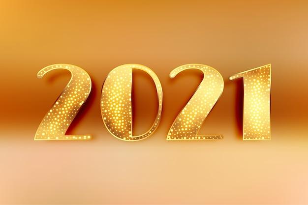 Złoty 2021 błyszczy tło obchodów szczęśliwego nowego roku
