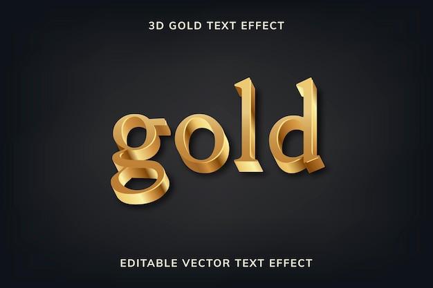 Złoty 3d efekt tekstowy wektor edytowalny szablon