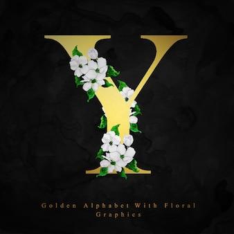 Złoty alfabet litery y akwarela kwiatowy tło