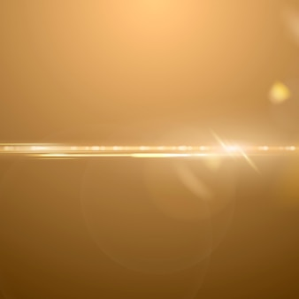 Złoty anamorficzny obiektyw flary wektor efekt oświetlenia tła