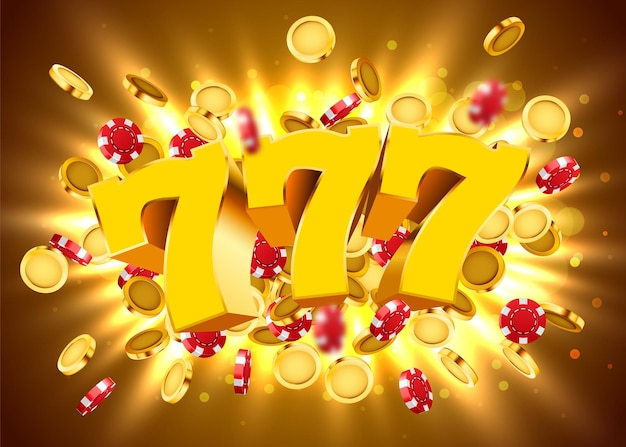 Złoty automat 777 z latającymi złotymi monetami i żetonami wygrywa jackpot