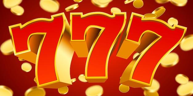 Złoty automat 777 z latającymi złotymi monetami wygrywa główną wygraną.