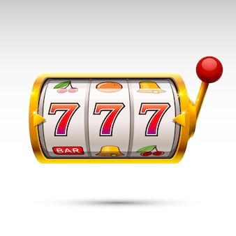 Złoty automat wygrywa jackpot. ilustracja wektorowa na białym tle