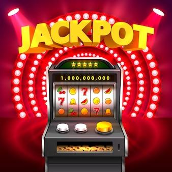 Złoty automat wygrywa jackpot. na białym tle na czerwonym tle. ilustracja wektorowa