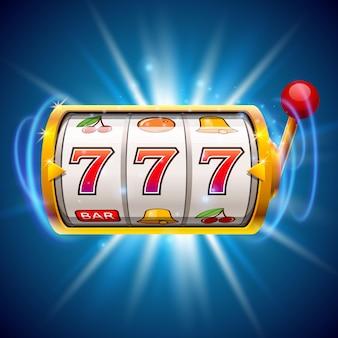 Złoty automat wygrywa jackpot. na białym tle na niebieskim tle. ilustracja wektorowa