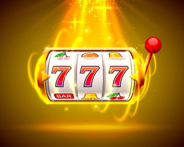 Złoty automat wygrywa jackpot. sloty 777 z dużymi wygranymi w kasynie.