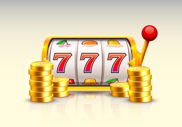 Złoty automat wygrywa jackpot. stosy złotych monet. ilustracja wektorowa na białym tle
