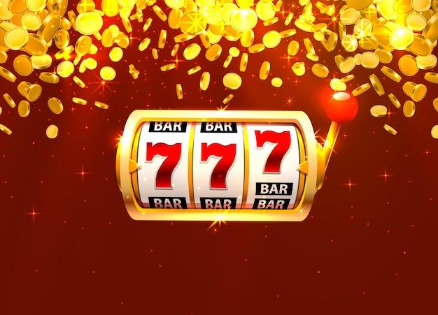 Złoty automat wygrywa jackpot. stosy złotych monet. ilustracja wektorowa na niebieskim tle