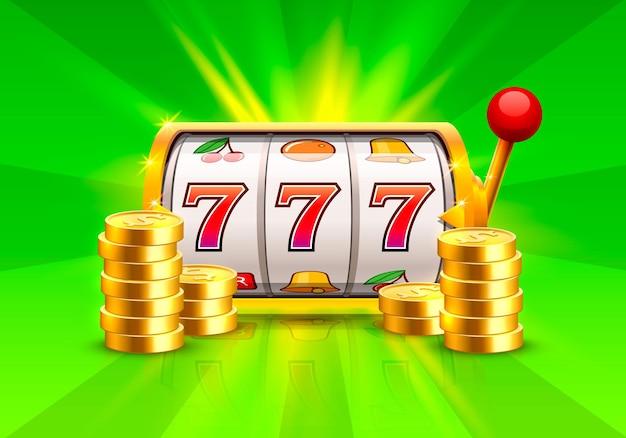 Złoty automat wygrywa jackpot. stosy złotych monet. ilustracja wektorowa na zielonym tle