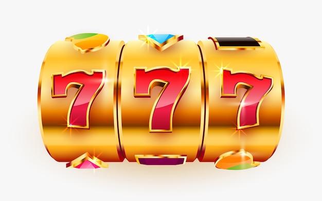 Złoty automat wygrywa jackpot w koncepcji dużej wygranej w kasynie