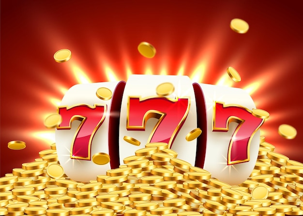 Złoty automat wygrywa jackpota koncepcja wielkiej wygranej w kasynie jackpot