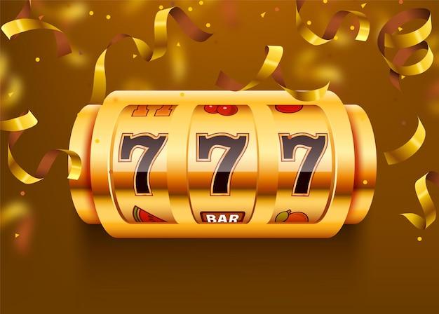 Złoty automat z latającym złotym konfetti wygrywa jackpot