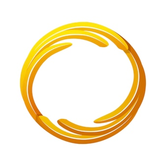 Złoty avatar gry, okrągły szablon ramki do gry. wektor ilustracja prosta pusta złota rama do projektowania graficznego gry.