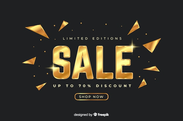 Złoty banner promocyjny sprzedaży szablon